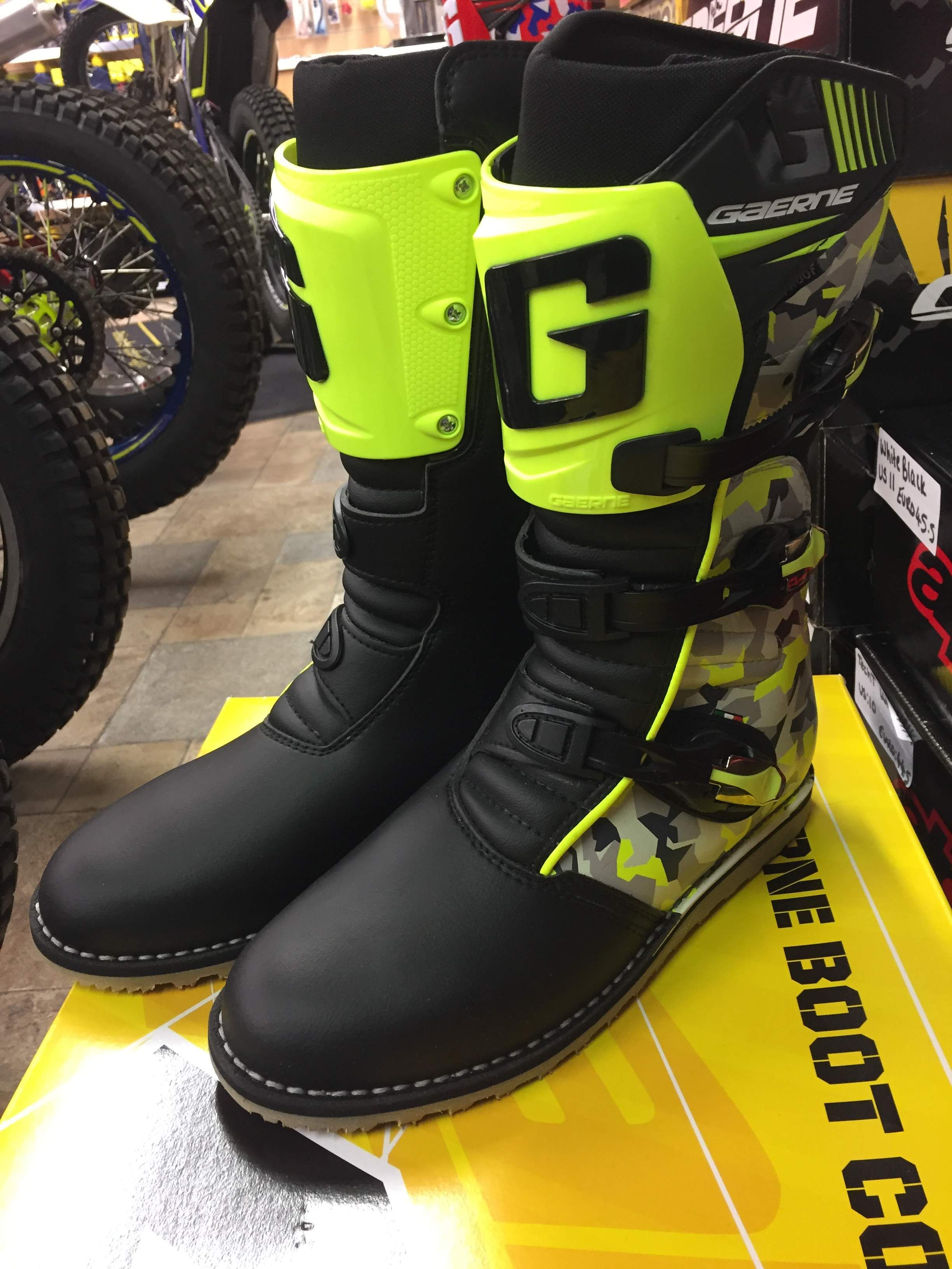 12b4bbe15c GAERNE 2018 CAMO YELLOW/BLACK TRIALS BOOTS | Trials Boots | Boots ...