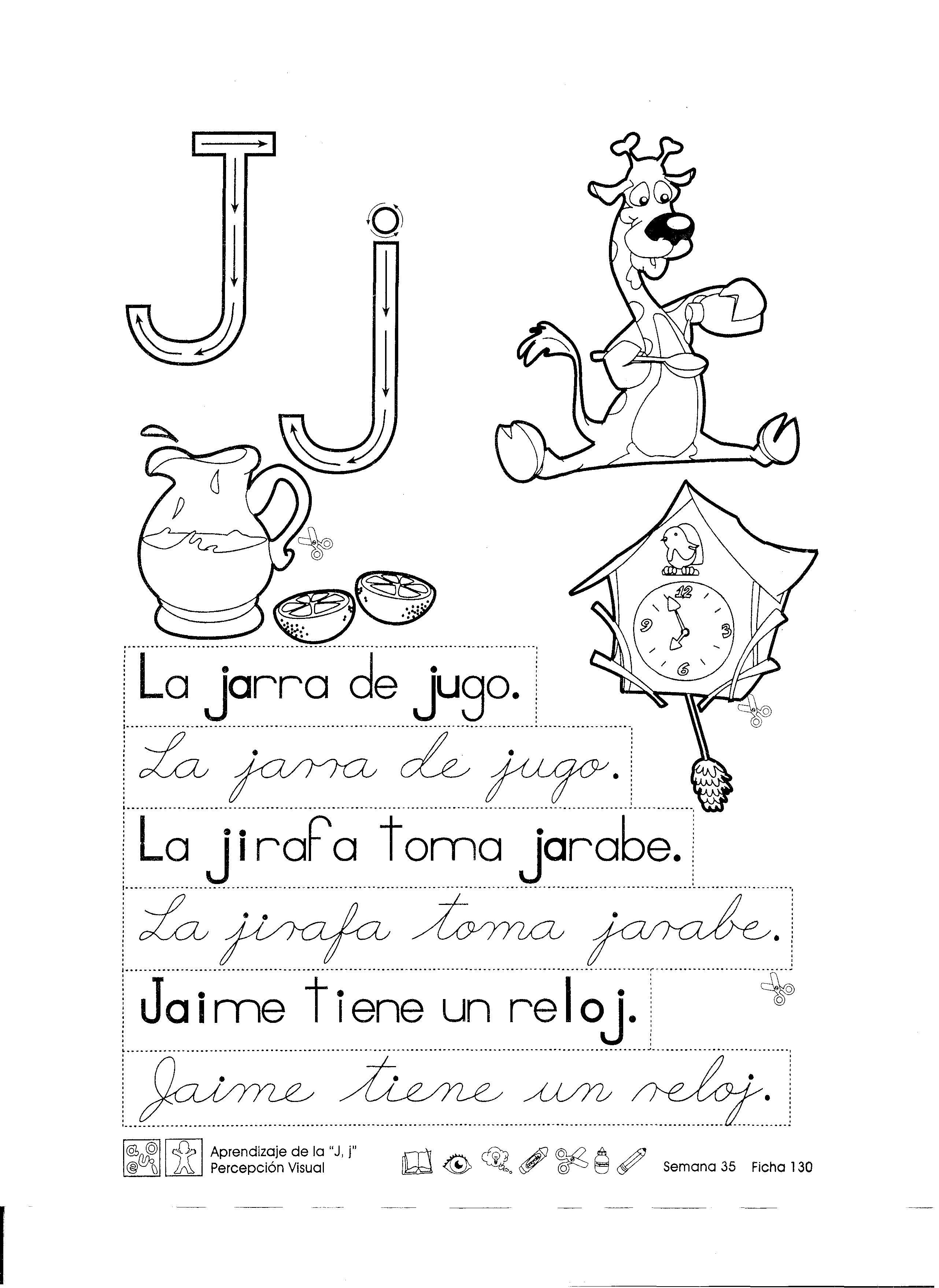 Ficha imprimible para reforzar lo aprendido con la letra j para ...