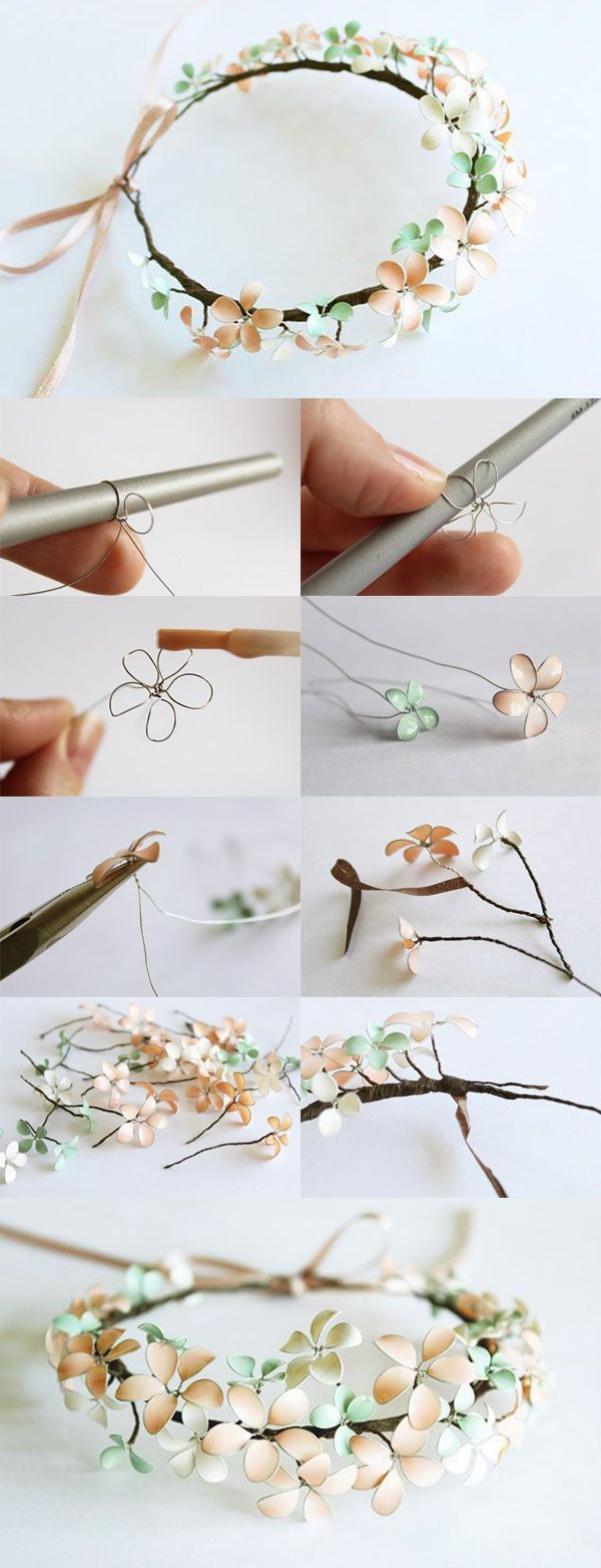Diy Nail Polish Wire Flowered Headpiece Covering The Wire W