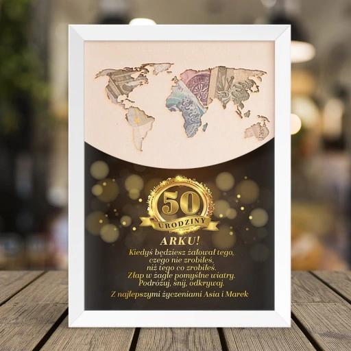 Plakat Urodziny Mapa Swiata Pieniadze Zloty Laur Frame Decor Book Cover