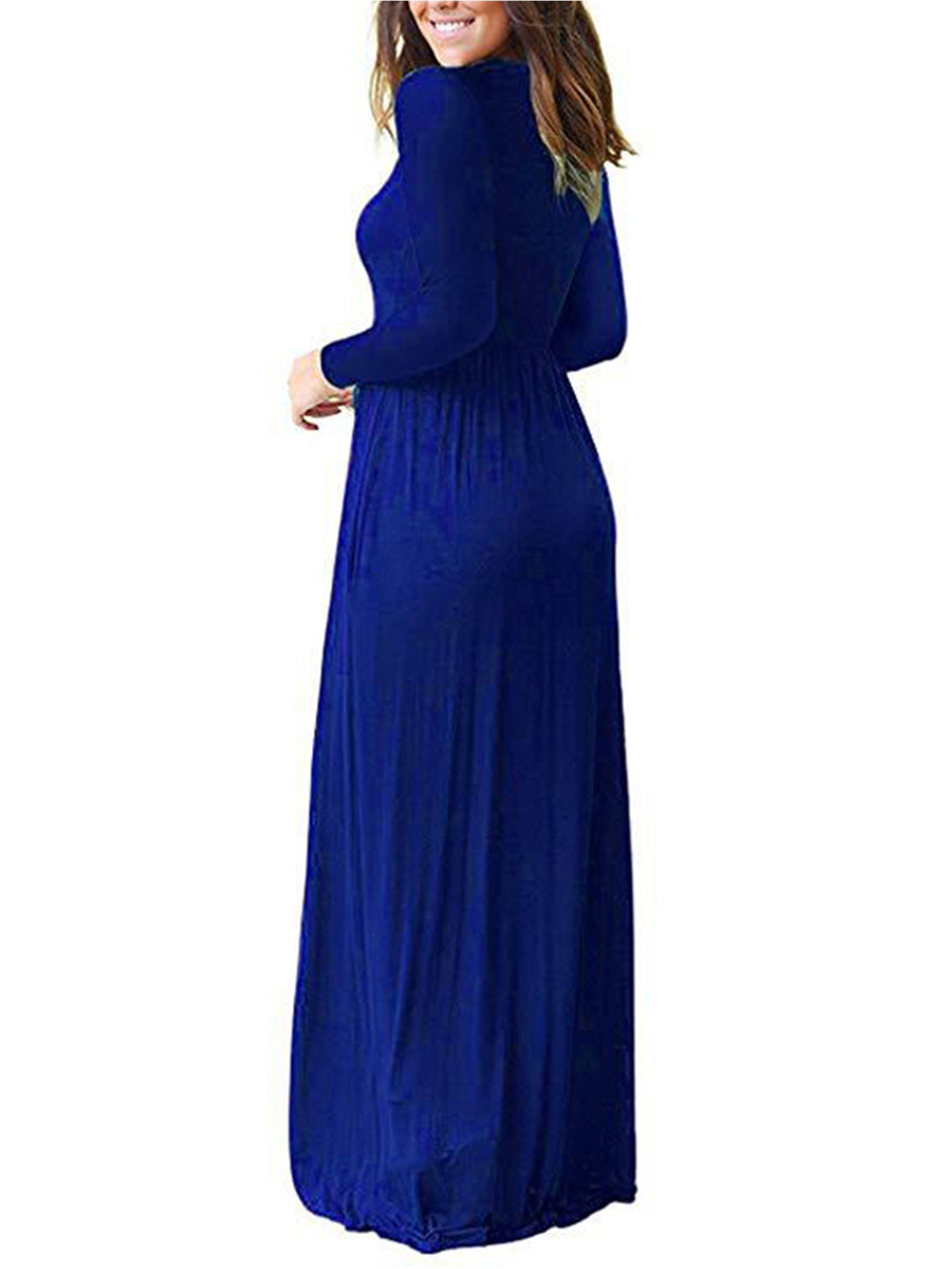 Wodstyle Women Casual Long Sleeve Plain Party Boho Maxi Dress Walmart Com Boho Maxi Dress Maxi Dress Style Maxi Dress [ 2000 x 1500 Pixel ]