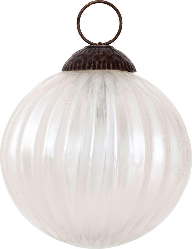 Pearl White Fine Line Mercury Glass Ornament - $4.30
