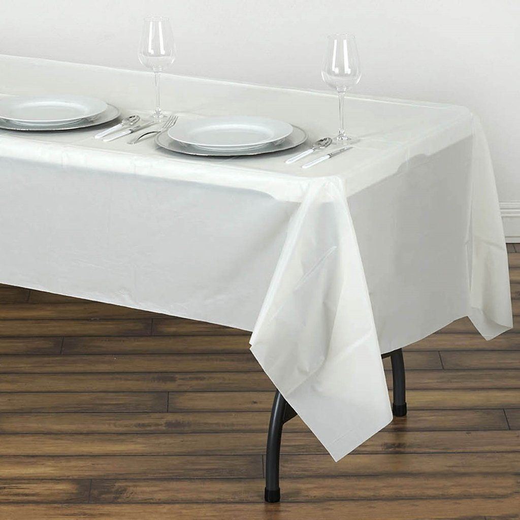 54 X 108 Ivory 10 Mil Thick Waterproof Tablecloth Pvc Rectangle Disposable Tablecloth In 2020 Plastic Table Covers Table Cloth Plastic Tables