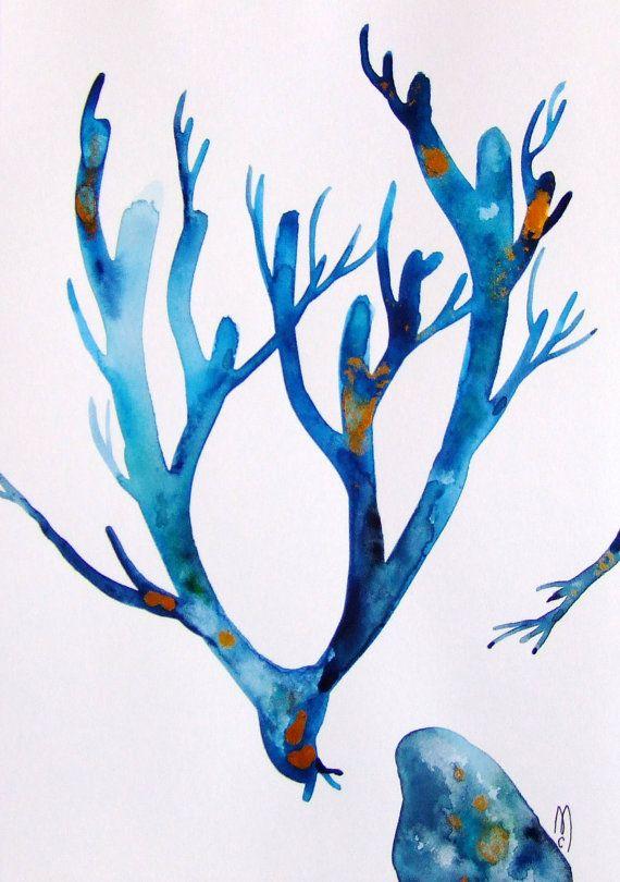 Corail Aquarelle Originale Encre Corail par ...