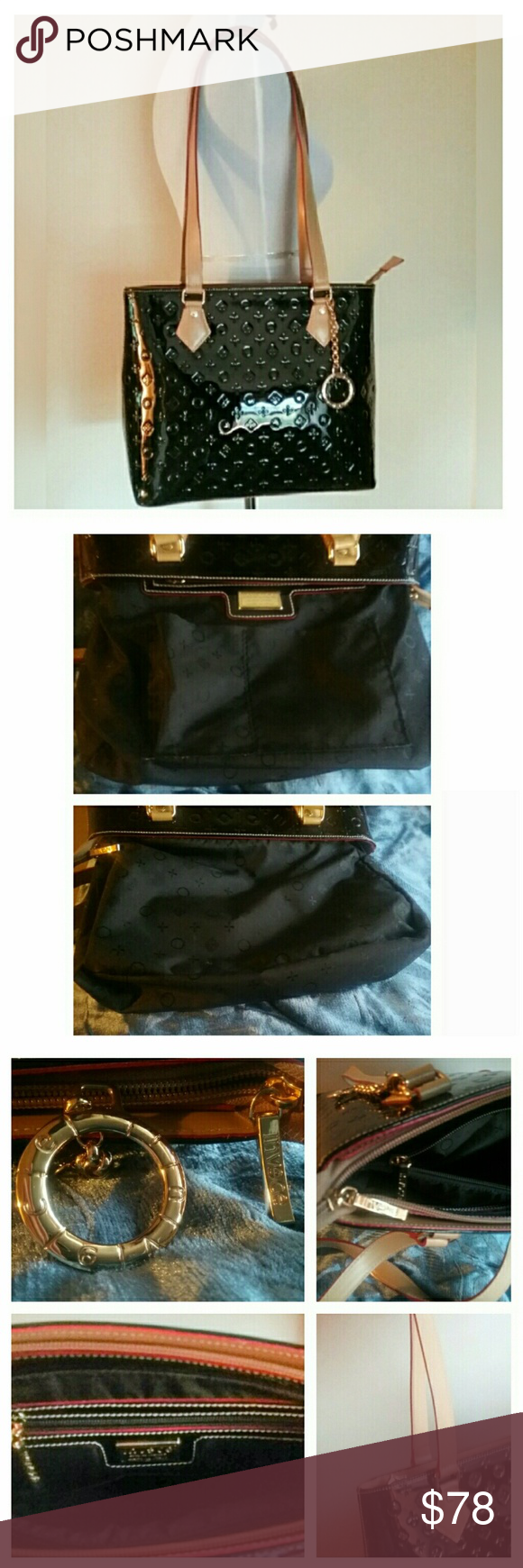 Invece Italian Black Leather Shoulder Bag W Charm Made In Italty This Beautiful