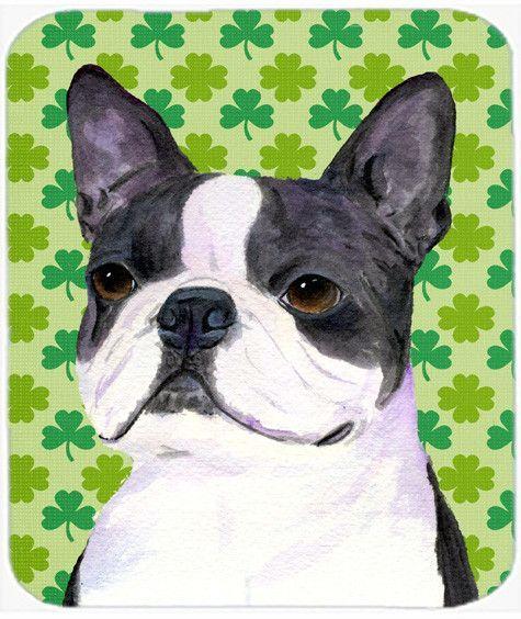 Boston Terrier St. Patrick's Day Shamrock Portrait Mouse Pad, Hot Pad or Trivet