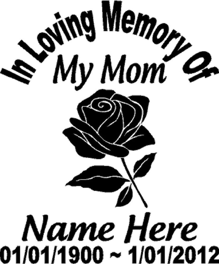 Details About In Loving Memory Of FLOWER ROSE Mom Decal Window - Custom vinyl decals for car windows