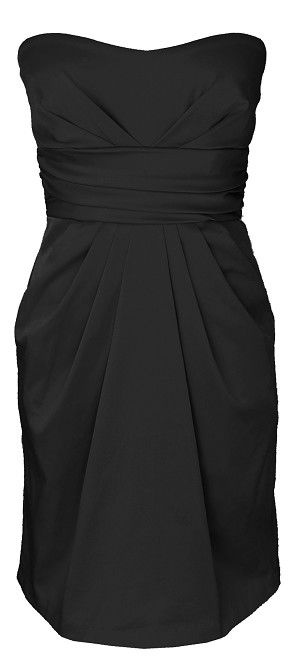 Black Strapless Cocktail Party Dress with Pockets MT