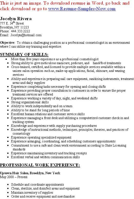 free cosmetology resume builder we provide as reference to make correct and good quality resume - Sample Cosmetologist Resume