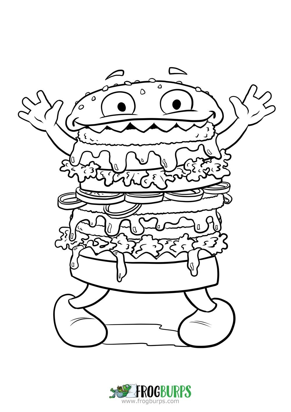 Silly Burger Monster | Coloring Page | Coloring Pages | Pinterest ...