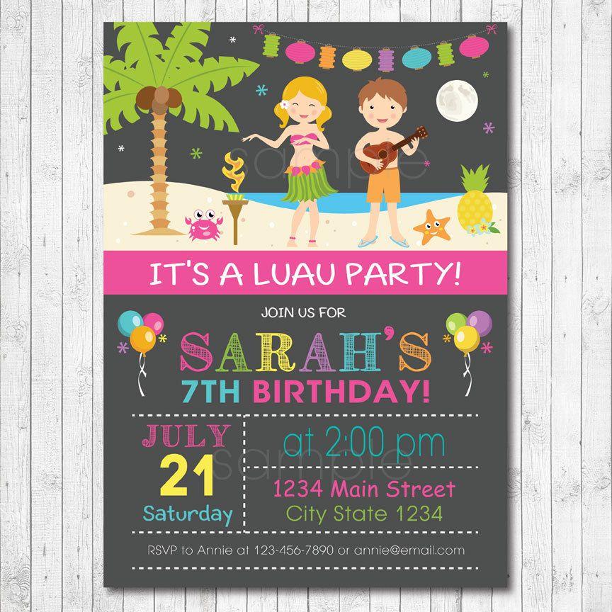Luau Birthday Invitation Card - Digital Printable File by ...