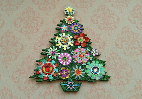 Large Christmas Tree Ornament 1 HANDMADE SPARKLY ORNAMENTS