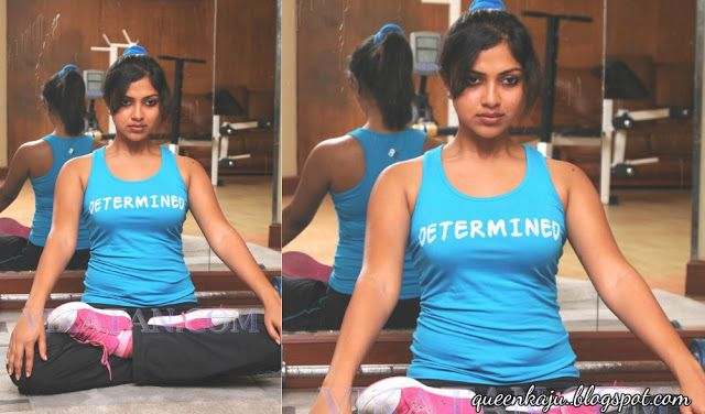 Stunning Pictures Of Actress: Amala paul latest hot stills in tight gym dress