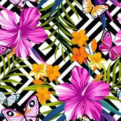Tropical floral seamless pattern with butterflies. Hibiscus and palm leaves on geometric background
