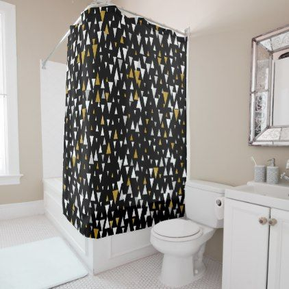 Triangle Modern Art   Black Gold Shower Curtain   Modern Gifts Cyo Gift  Ideas Personalize