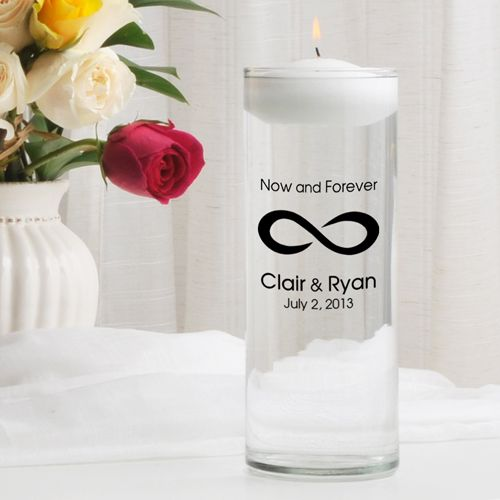Now Forever Infinity Symbol Personalized Floating Unity Candle