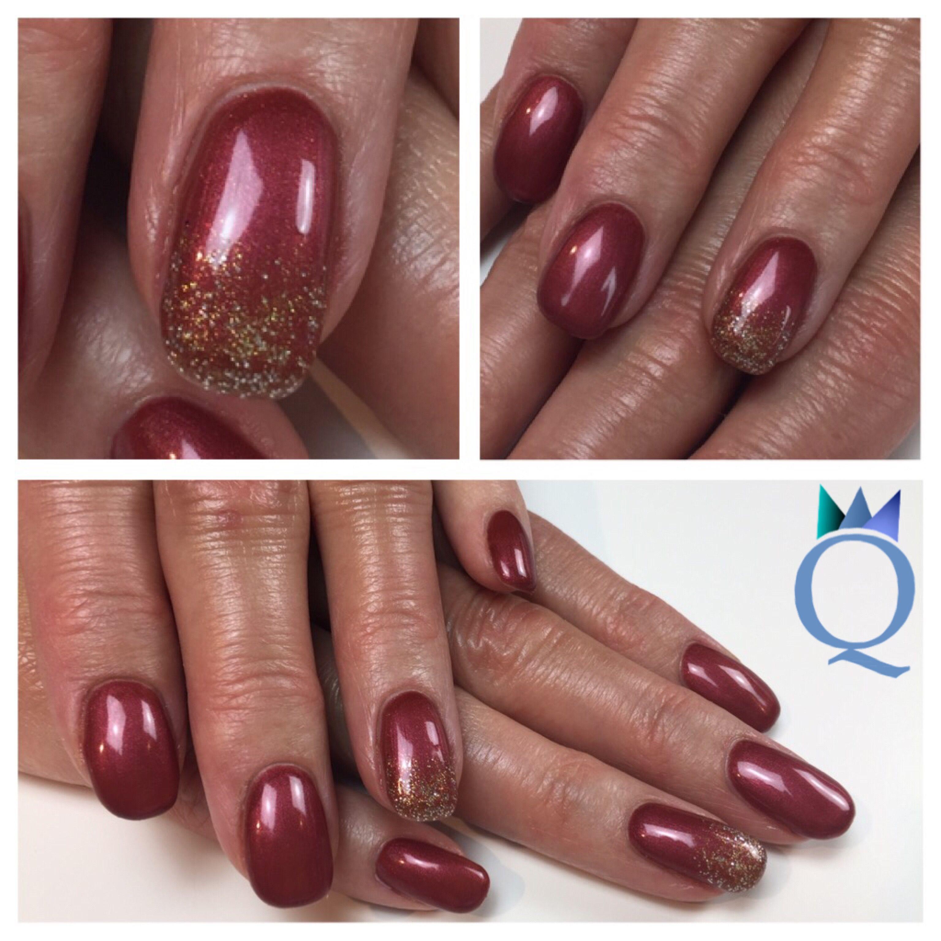 shortnails #gelnails #nails #red #custommade #gold #glitter ...