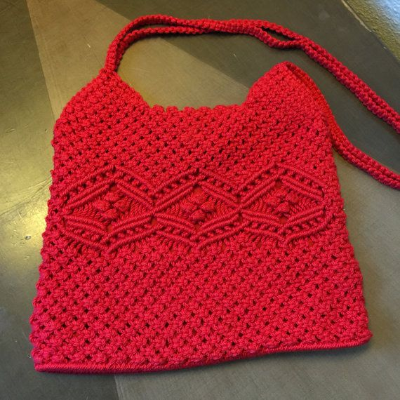 Items similar to Red Crocheted Purse Shoulder Bag Vintage Boho Casual Spring on Etsy