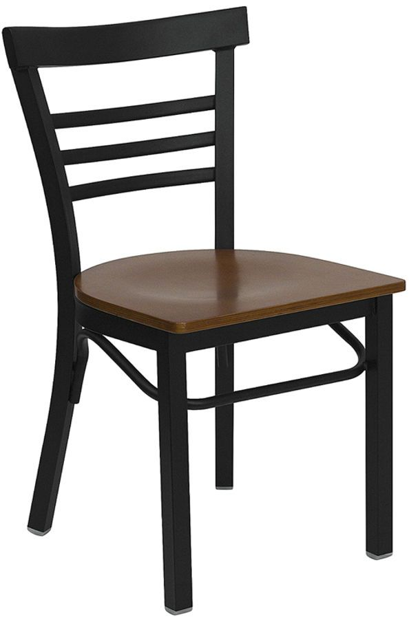 Hercules Black Cherry Metal Wood Ladder Back Restaurant Chair