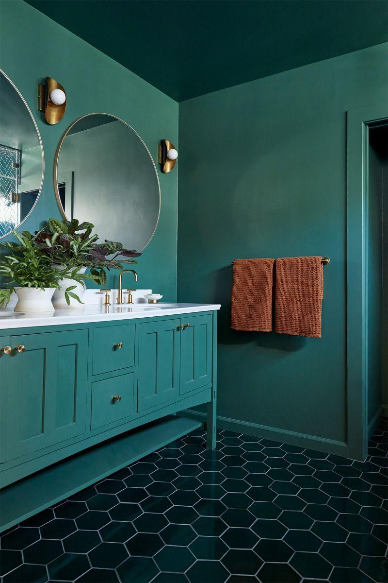 Emerald Green Bathroom Tiles Are The Star Of Laurel Gallucci S La Home Green Tile Bathroom Green Bathroom Home Decor