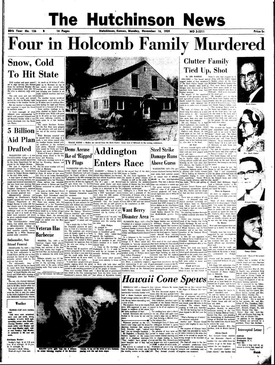 the newspaper article for the clutter family murders in the  in cold blood article