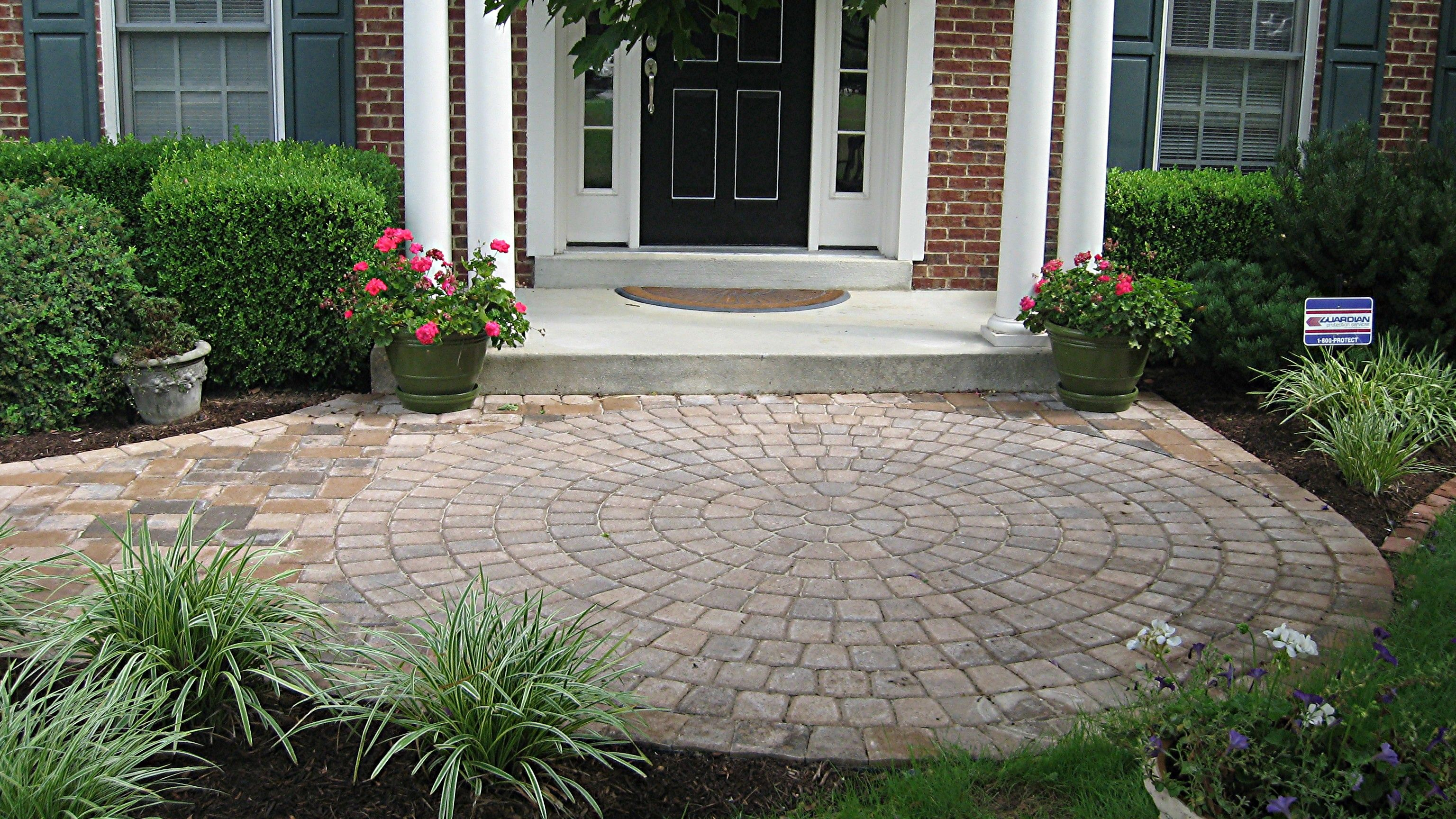 Landscaping ideas for front yard with porch  Low cement porch  letus go outside  Pinterest  Paver walkway
