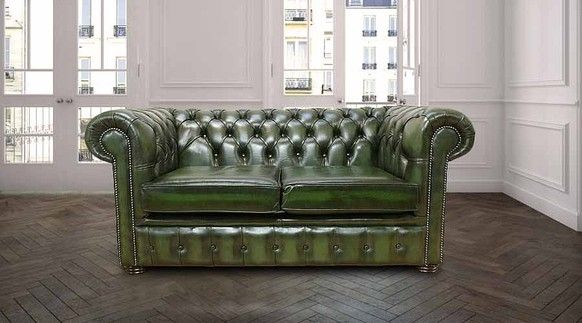 Excellent Green Antique Vintage Leather Chesterfield Sofa So Like Gmtry Best Dining Table And Chair Ideas Images Gmtryco
