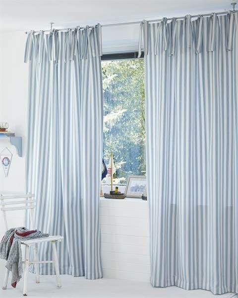 Vorhang Maritim, Blau Weiß Gestreift, Baumwolle