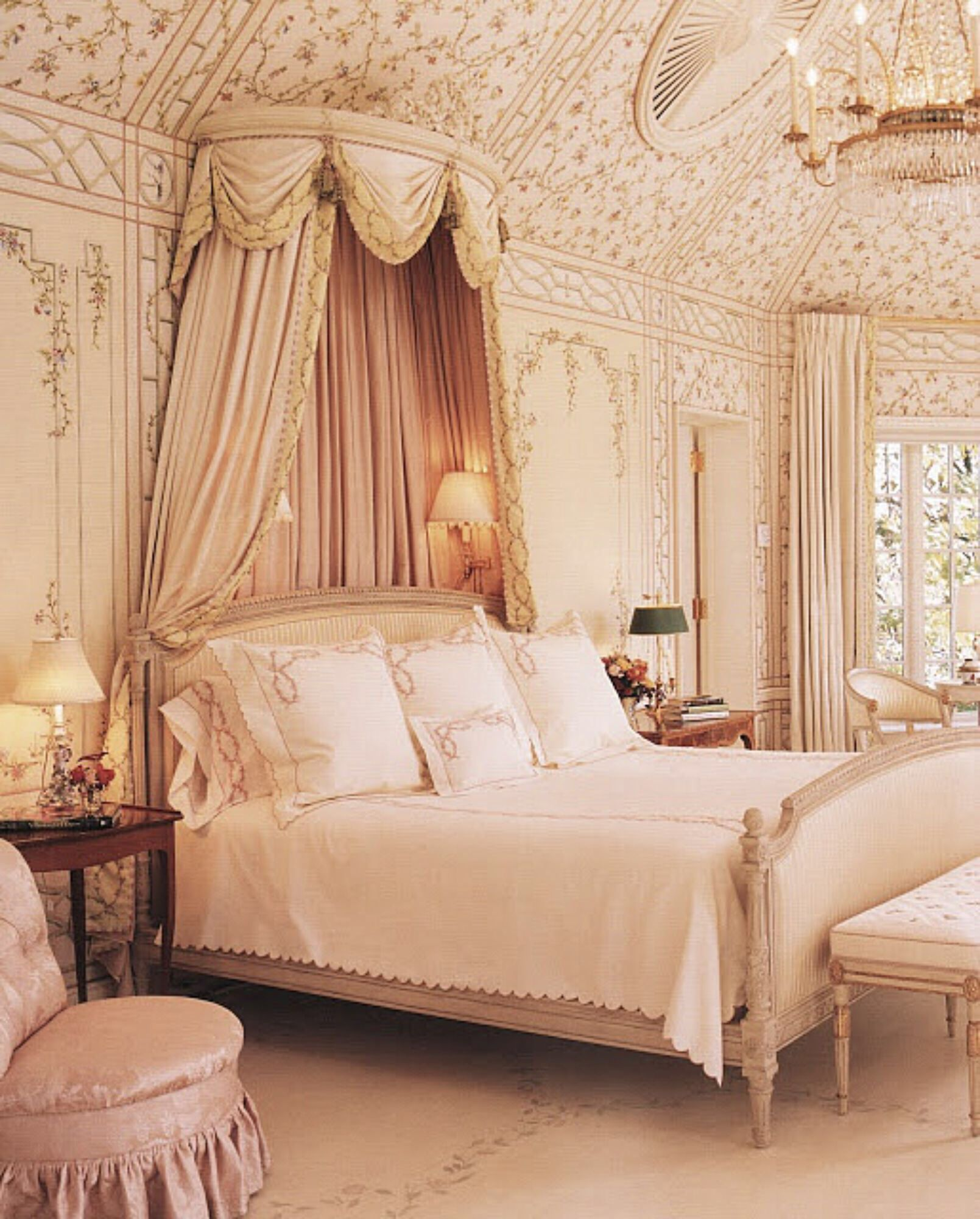 blush pink bedroom, canopy and formal French styling