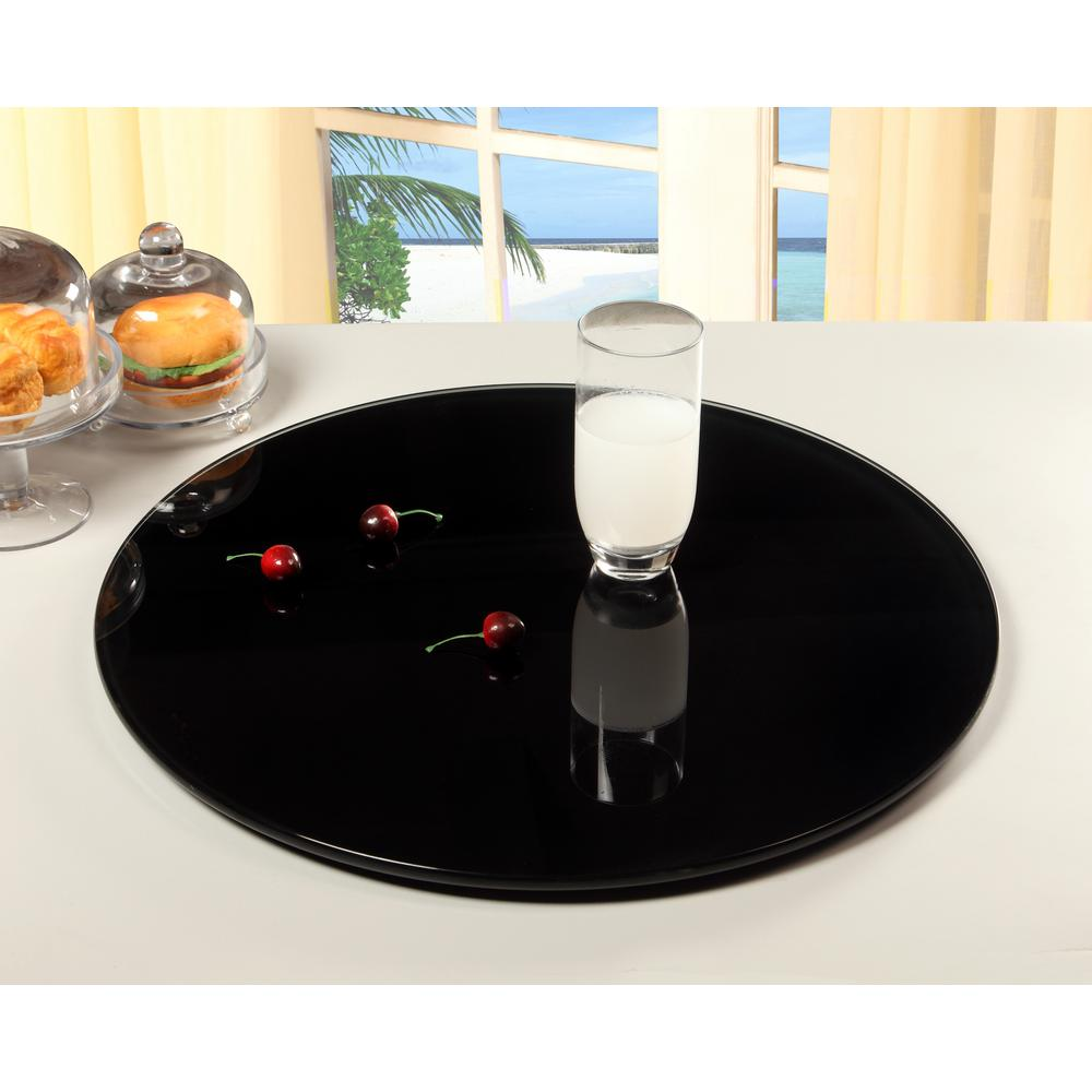 Unbranded Lazy Susan 24 In Round Black Glass Spinning Tray Lazy Susan 24 Blk The Home Depot Lazy Susan Black Glass Tray