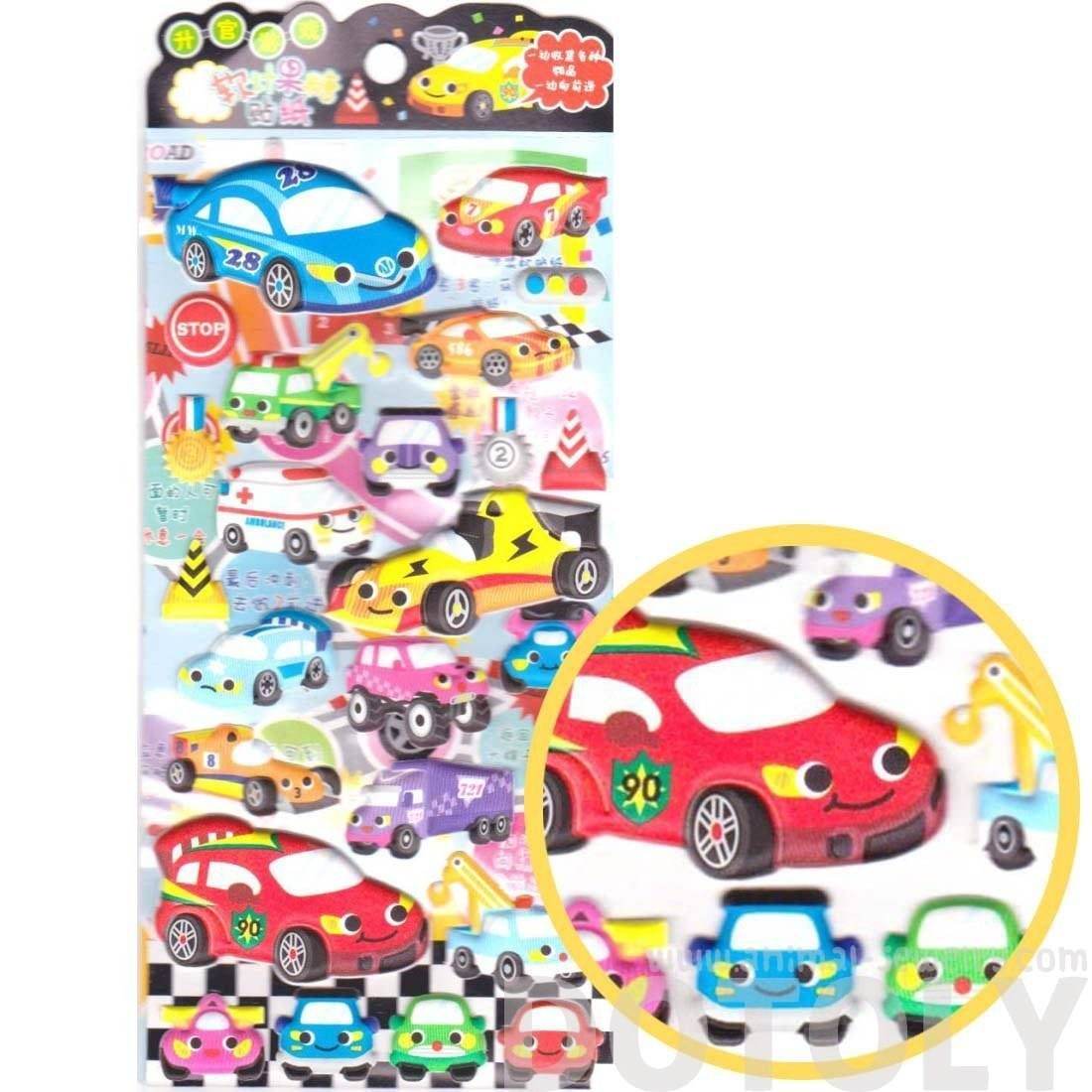 Cars Trucks Race Cars Trucks Shaped Spongy Stickers for Scrapbooking and Decorating