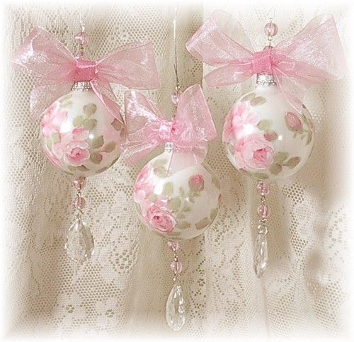Pretty Pink Rose Christmas Ornaments pink christmas ornaments shabby chic christmas decorations pink christmas