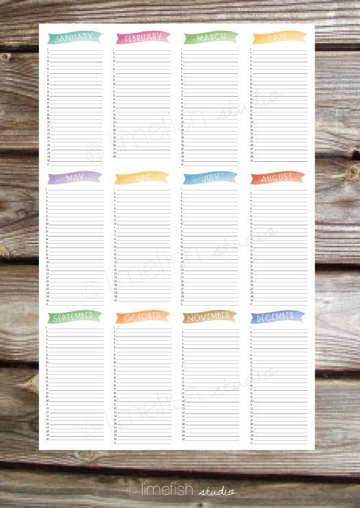 Printable Birthday Calendar 11X17 Poster Print - Instant Download