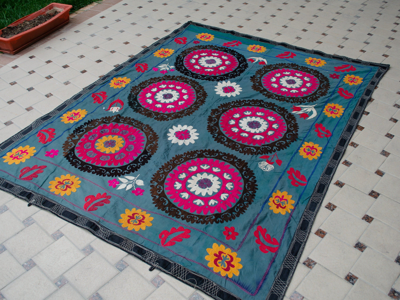 Hand Embroidered Wall Hanging Uzbek Silk Suzani Black garden Vintage Embroidery