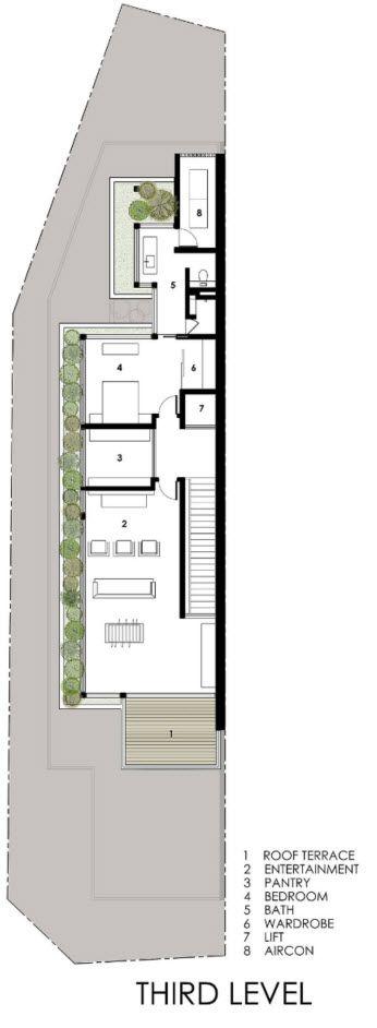 Plano de casa de tres pisos angosta nivel 3