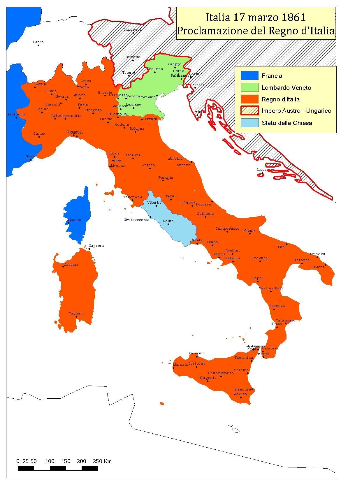 Cartina Italia 1860.Risorgimento L Italia Nel 1861 Mappa Dell Italia Geografia Mappe Antiche