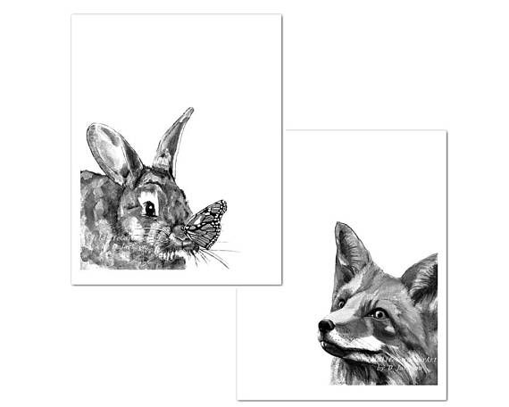 Black and White Bunny Butterfly and Fox Watercolor Art ...