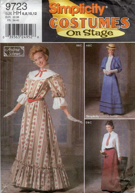 Simplicity 9723 Misses Stage Costume Pattern Victorian Edwardian ...