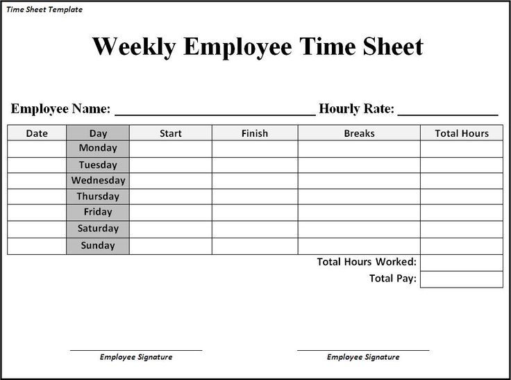 Image Result For Time Sheet Templates Printable Free Timesheet