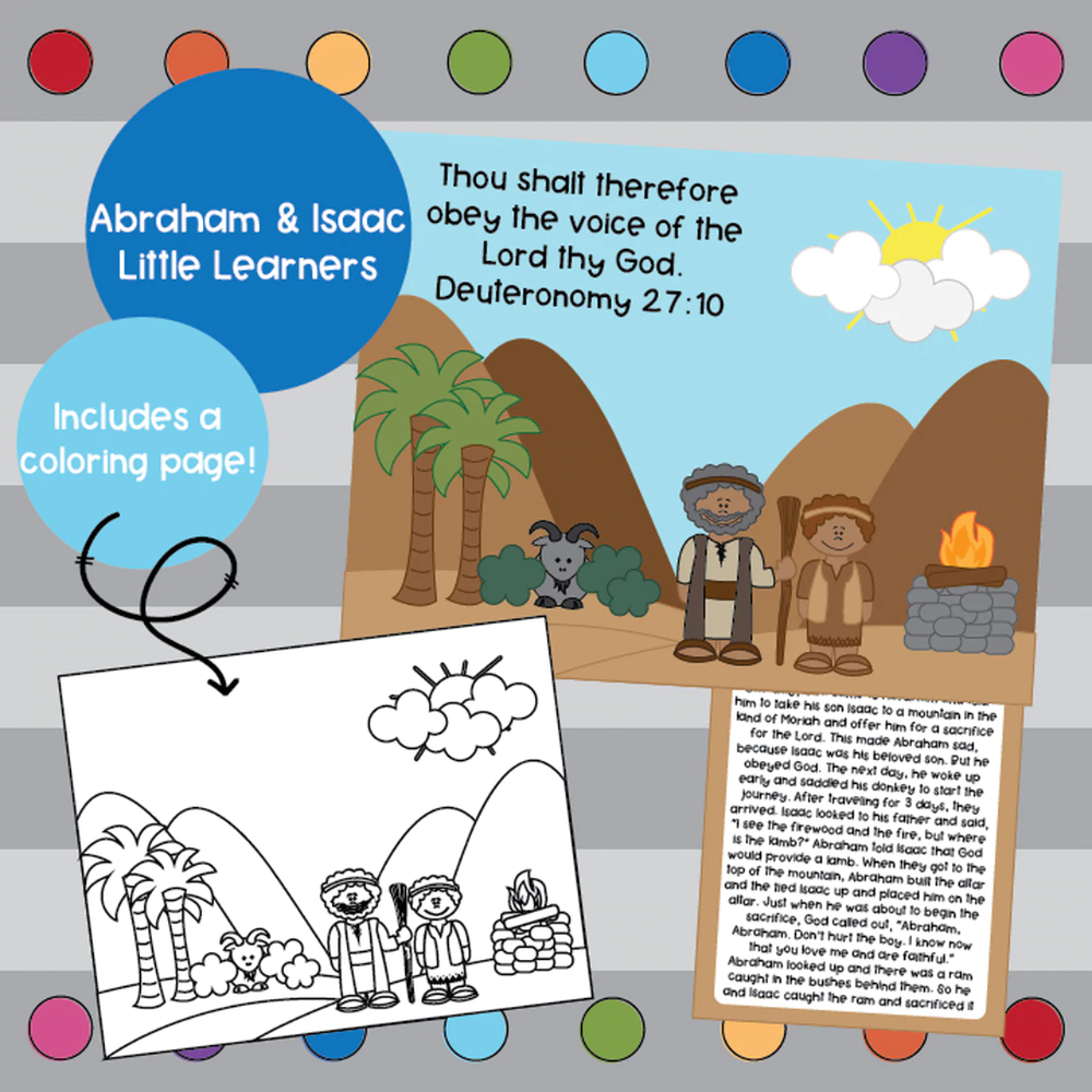 hight resolution of Abraham and Isaac coloring page
