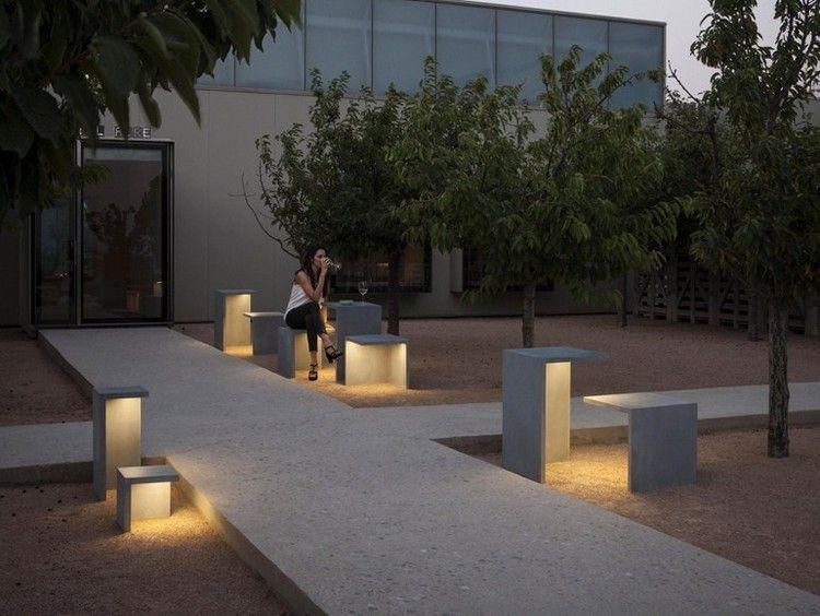 Moderne Gartenbeleuchtung Led Beton Tisch Hocker Empty Vibia