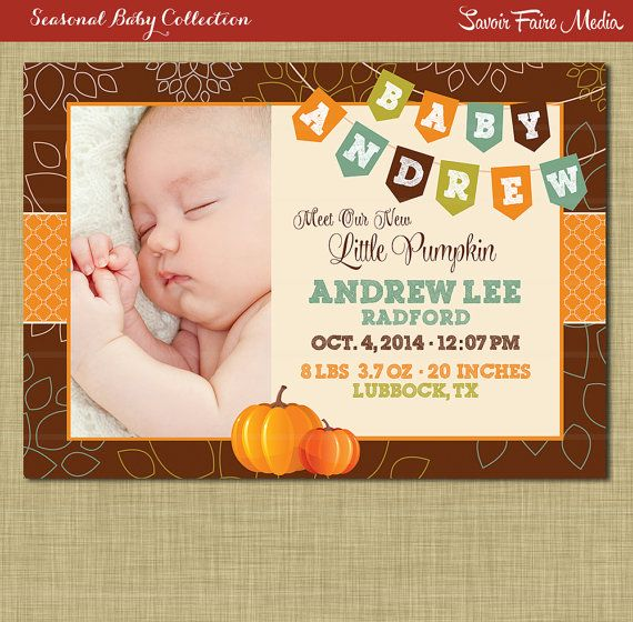 fall baby announcement pumpkin boy autumn theme printables boy