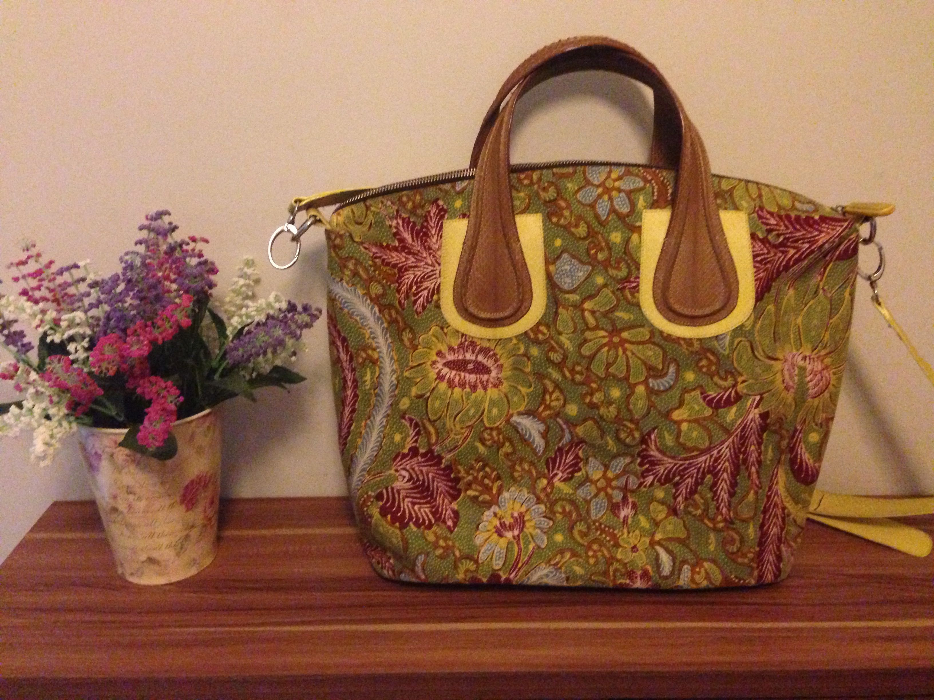 My Djenar from Kunthi Batik Bag Made from rare green Tiga Negeri handrawn batik I love this bag so much Indonesian batik