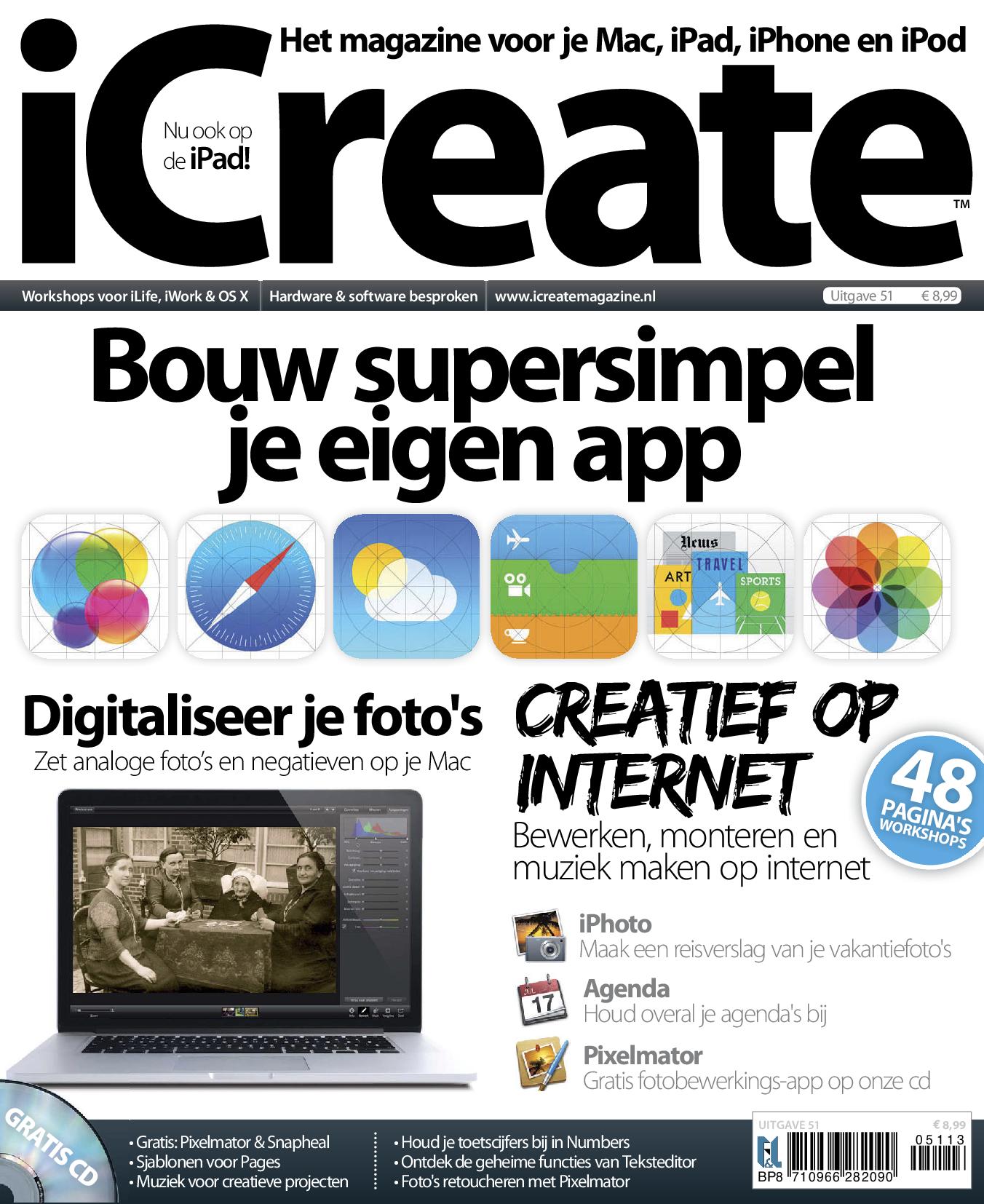 Bouw supersimpel je eigen app, zet analoge foto's en negatieven op je Mac en leer bewerken, monteren en muziek maken op internet met iCreate 51. #eMagazine te downloaden via de BrunaTablisto app.