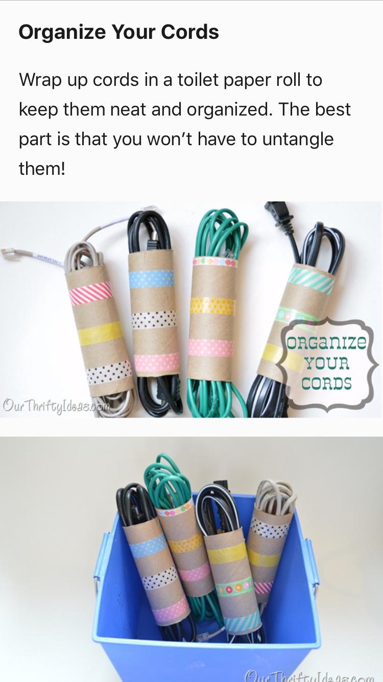 great way to organize cord storage with tp rolls   organized