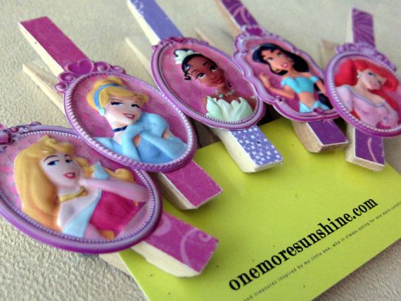 Disney Princess Clothespin Clips  set of 5 by OneMoreSunshine, $8.00