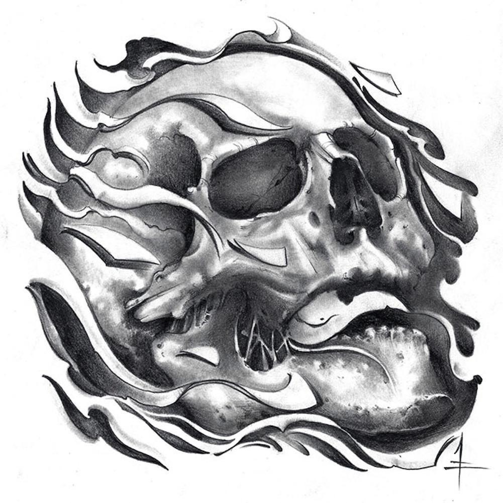 Tretick Skull by Jessie Tretick Black & White Flaming