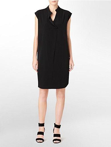 6bde268a02 calvin klein mandarin collar sleeveless sheath dress   Dress Up ...