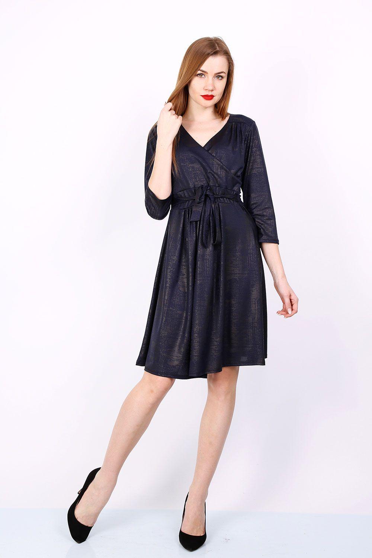 ad8012b659f3 Elegantné tmavomodré šaty s metalickým vzorom