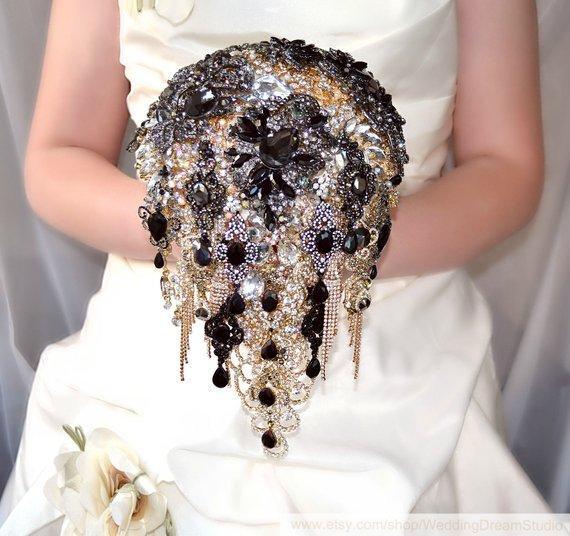 Navy Blue Wedding Flower Bouquet Silver Bridal Brooch Bouquet Boho